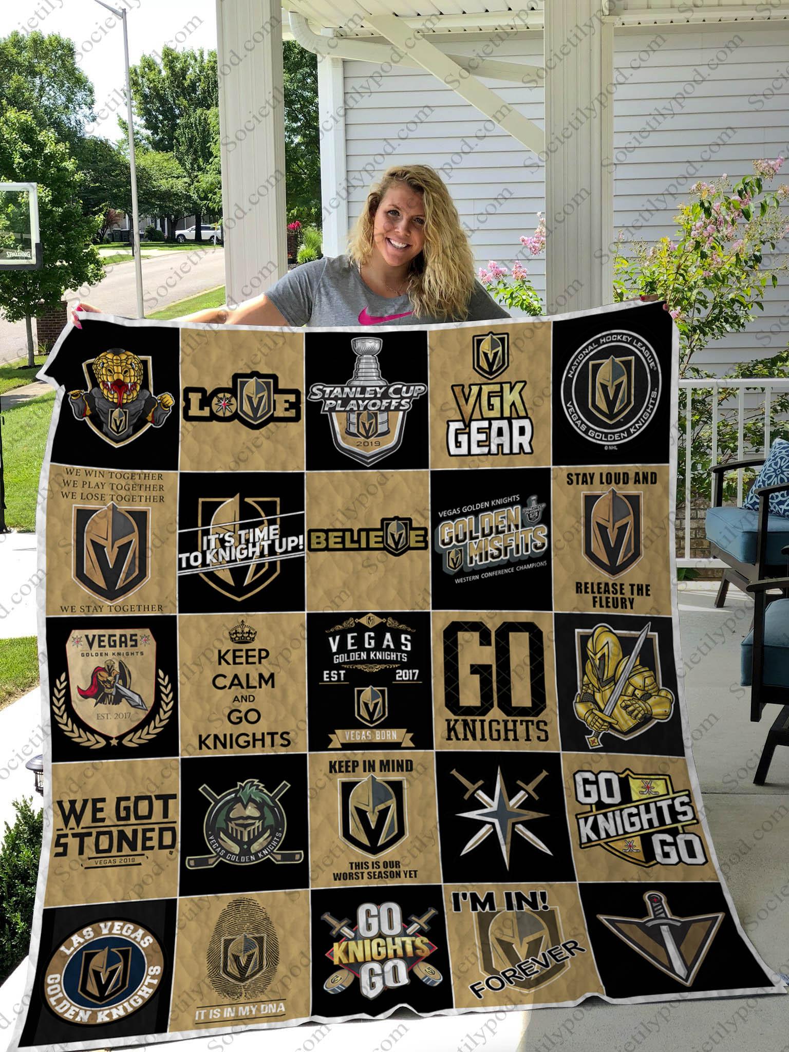 nhl vegas golden knights full printing quilt 1