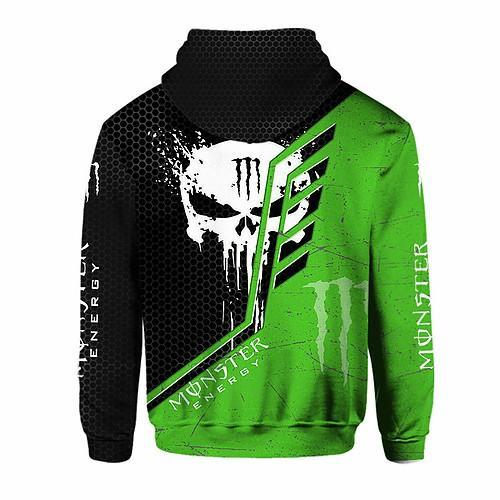 skull monster energy green all over printed hoodie 1