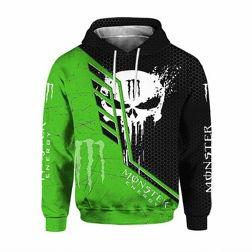 skull monster energy green all over printed hoodie