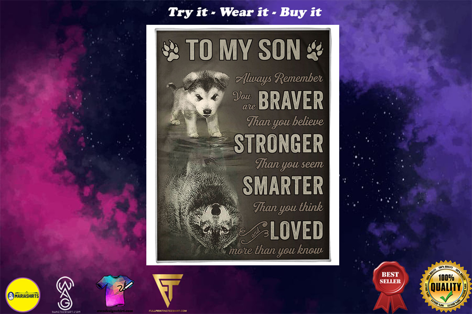 wolf to my son always remember loved more than you know full printing blanket - Copy