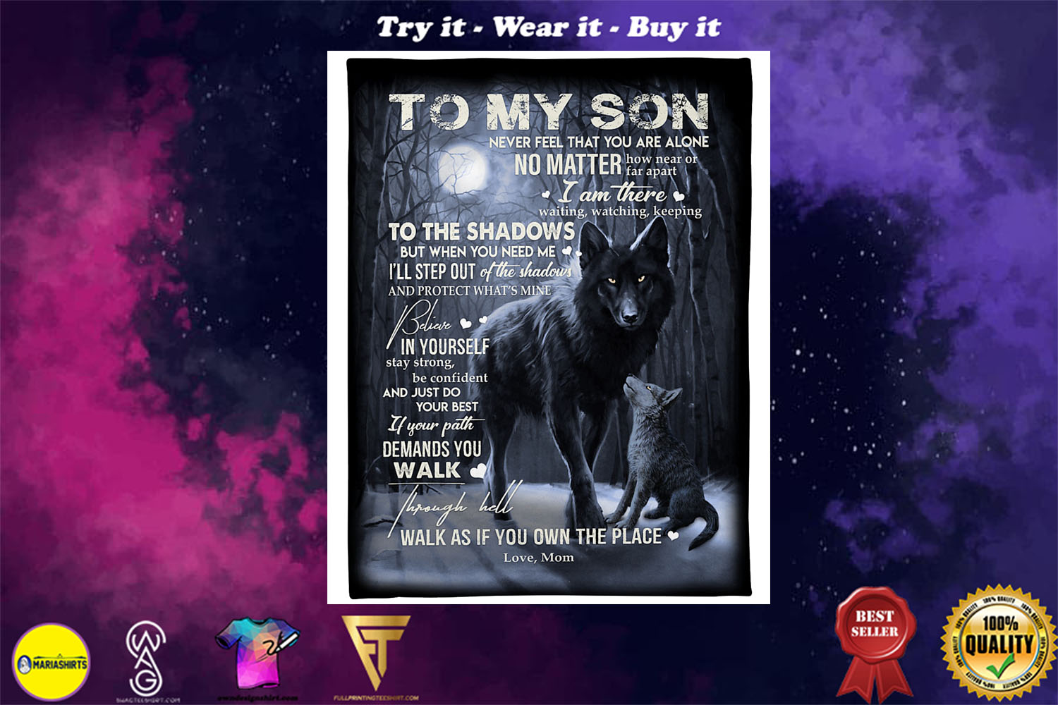 wolf to my son walk as if you own the place love mom blanket - Copy