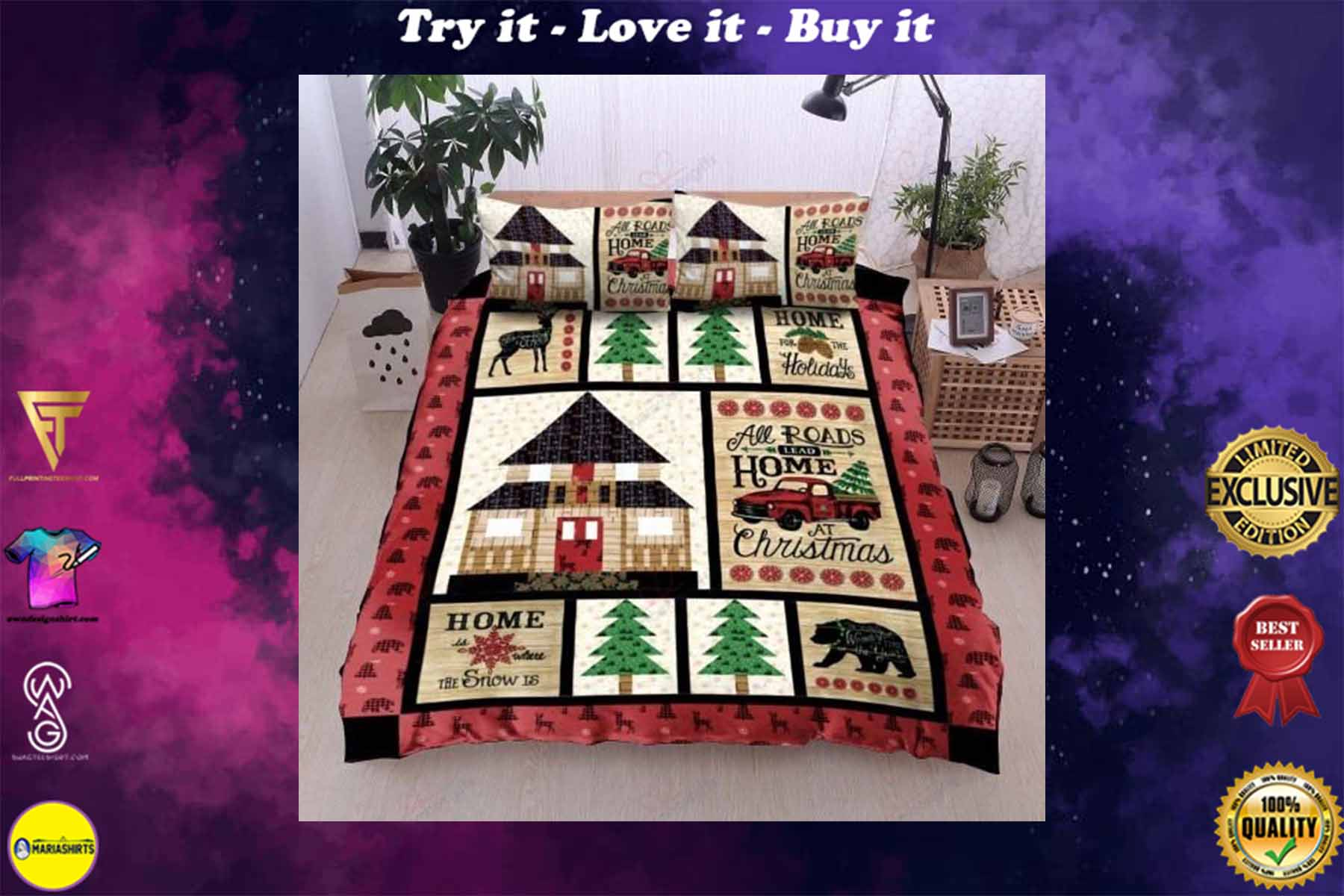 all roads lead home at christmas bedding set