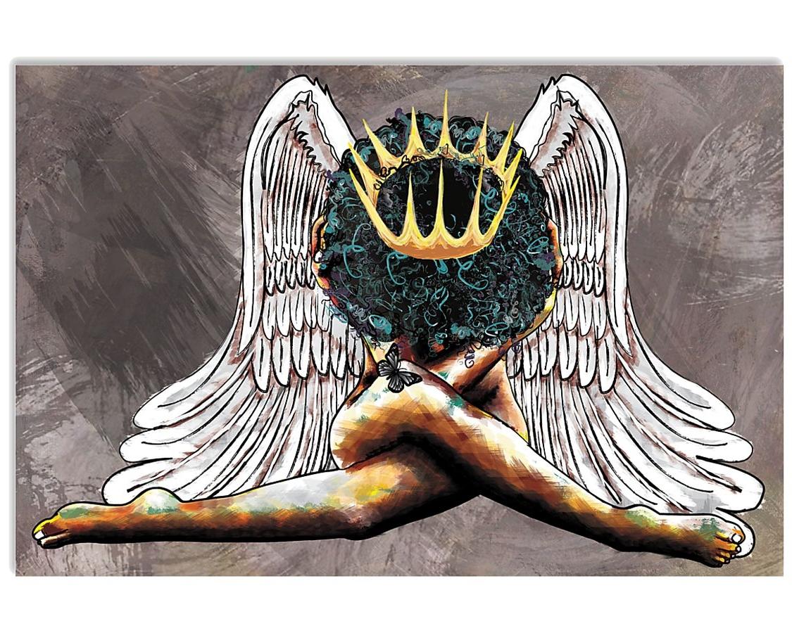 angel black queen watercolor poster 1