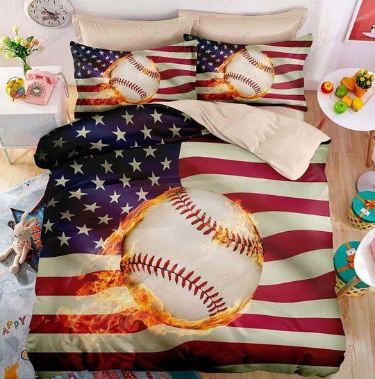 baseball fire with american flag bedding set 3