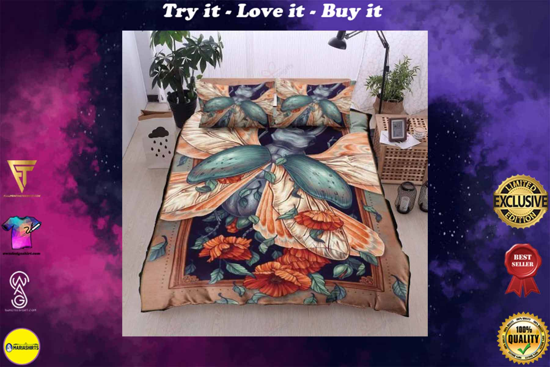 beetle and flowers bedding set