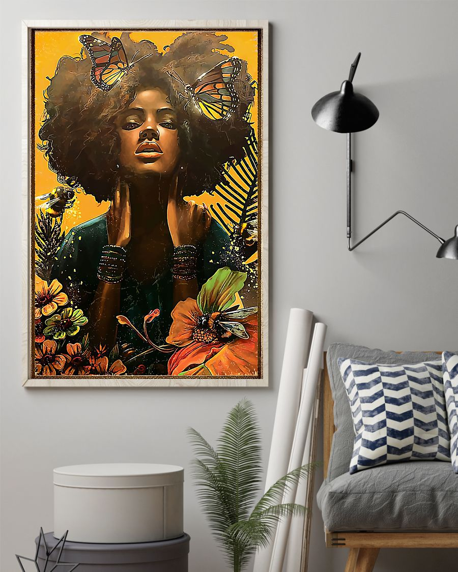 black woman with butterfly watercolor poster 2