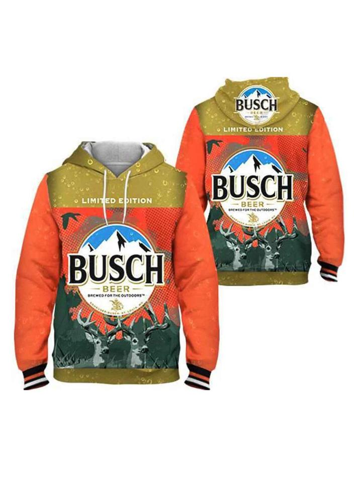 busch beer limited edition brewed for the outdoors full printing hoodie