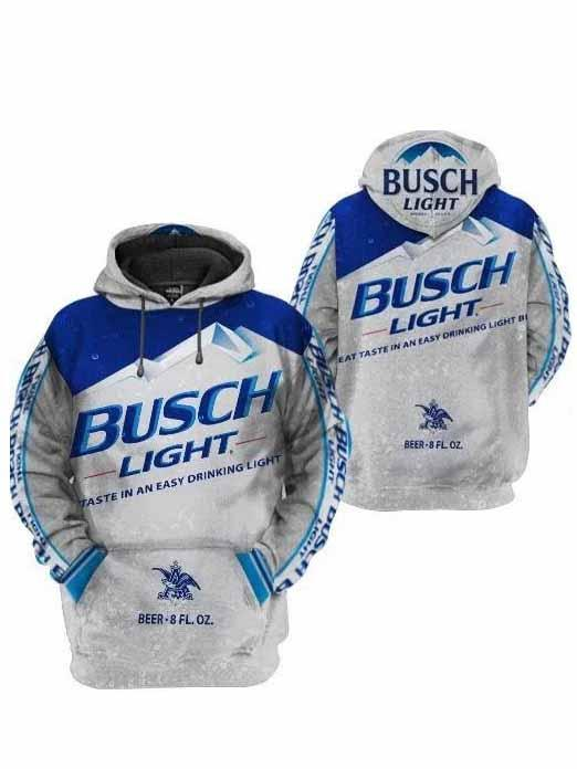 busch light taste in an easy drinking light full printing hoodie