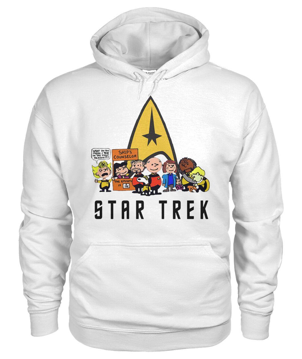 charlie brown snoopy and woodstock star trek hoodie