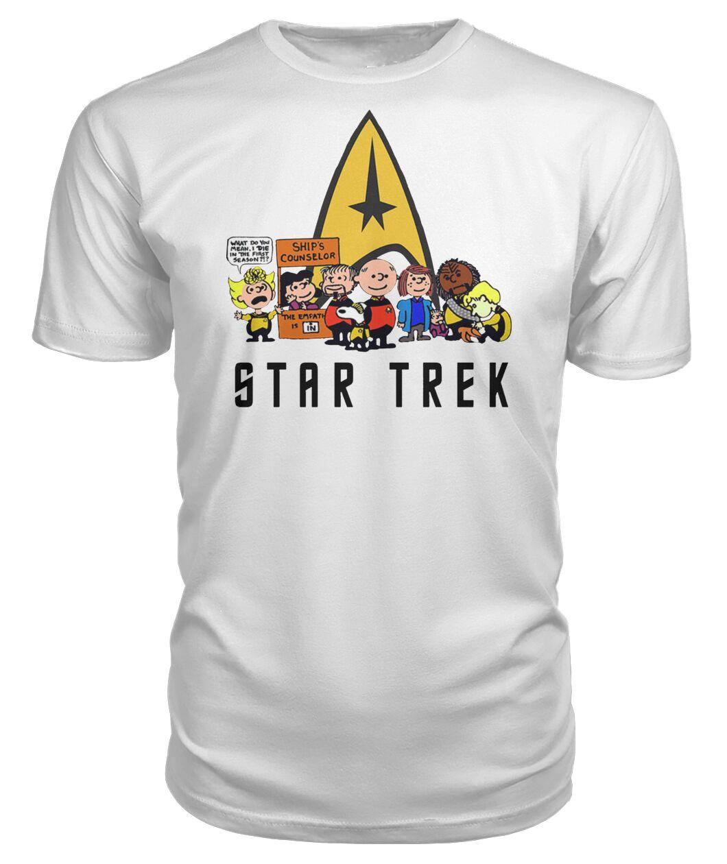 charlie brown snoopy and woodstock star trek shirt 1