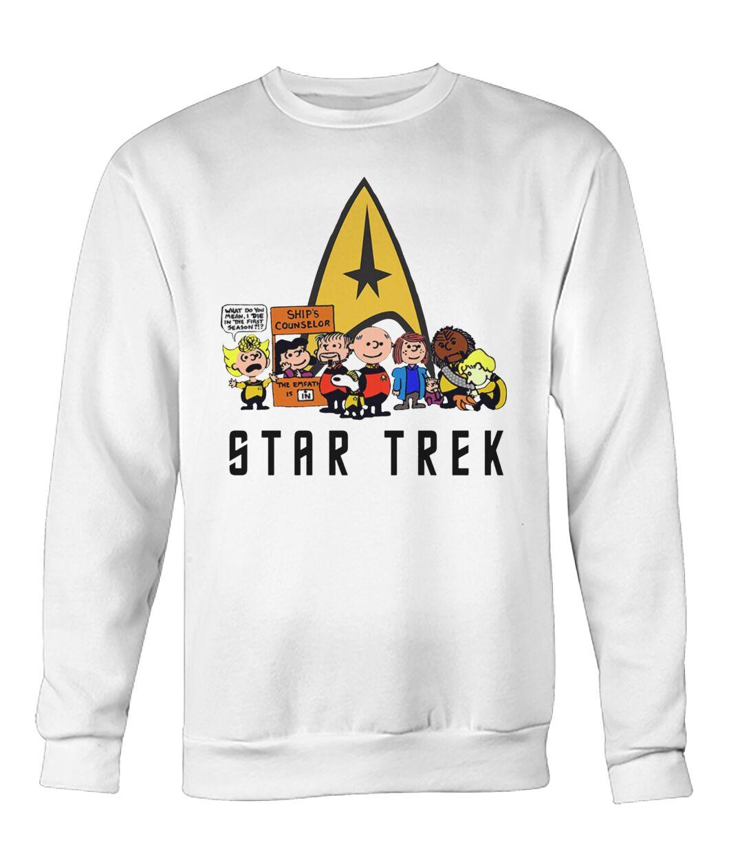 charlie brown snoopy and woodstock star trek sweatshirt