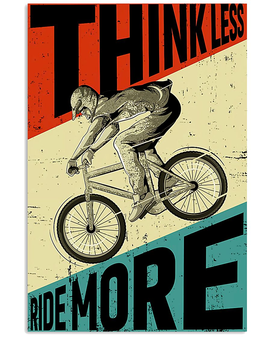 cycling ride think less ride more retro poster 1