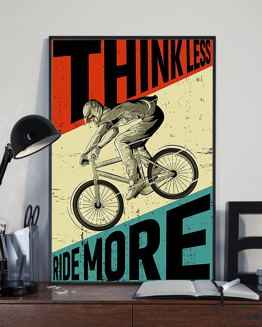 cycling ride think less ride more retro poster 2