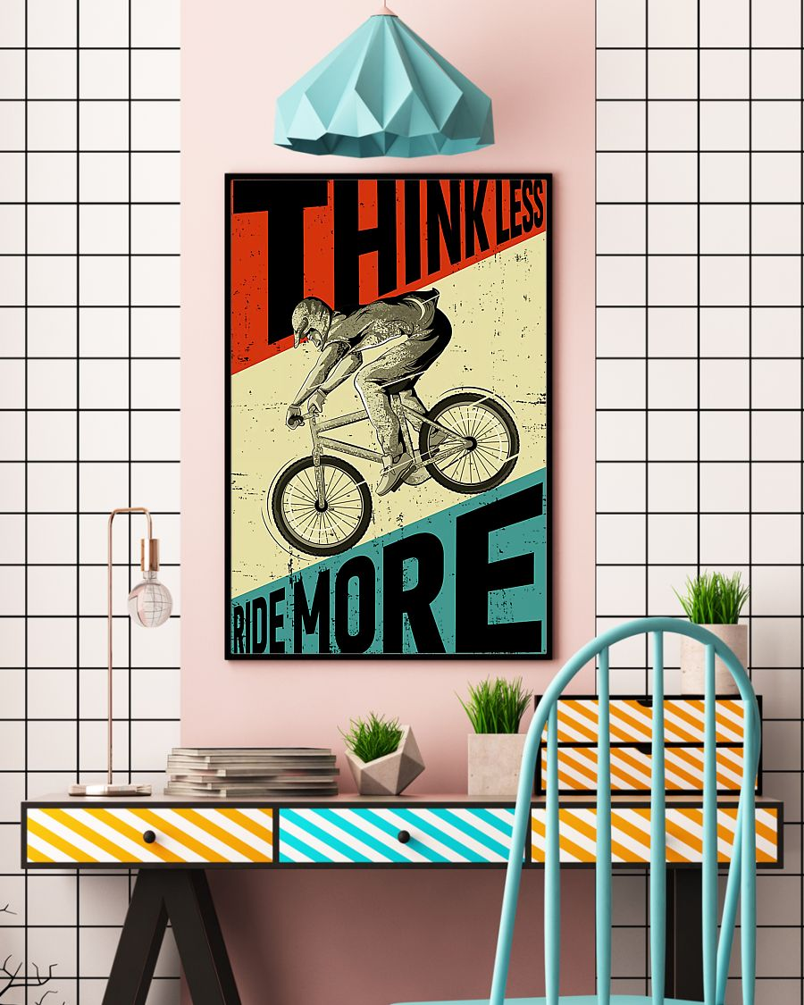 cycling ride think less ride more retro poster 4