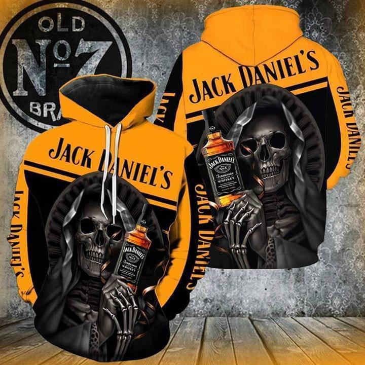 death skull loves jack daniels whiskey full printing hoodie