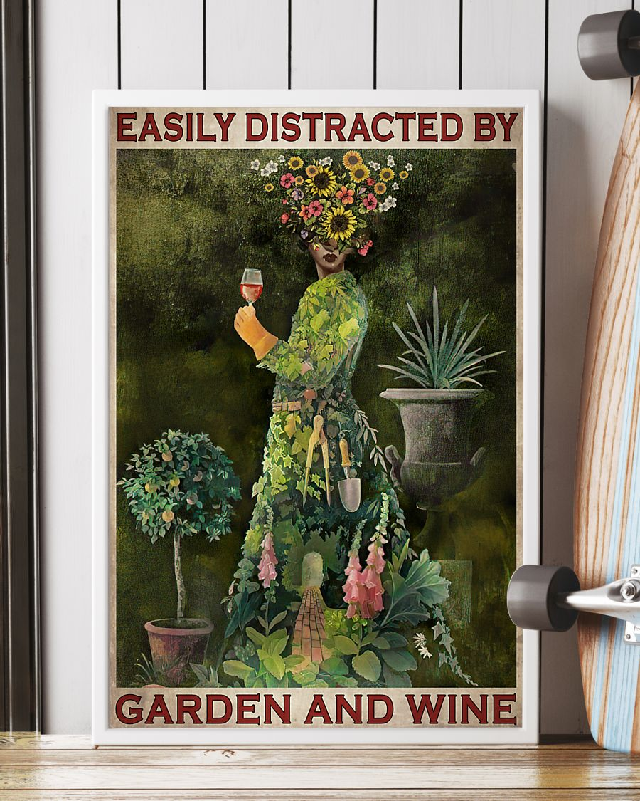 easily distracted by garden and wine retro poster 2