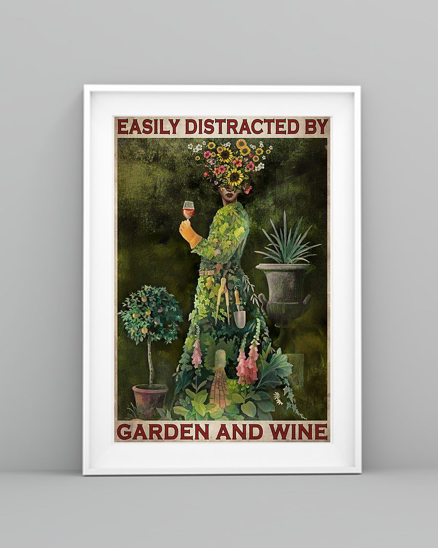 easily distracted by garden and wine retro poster 3