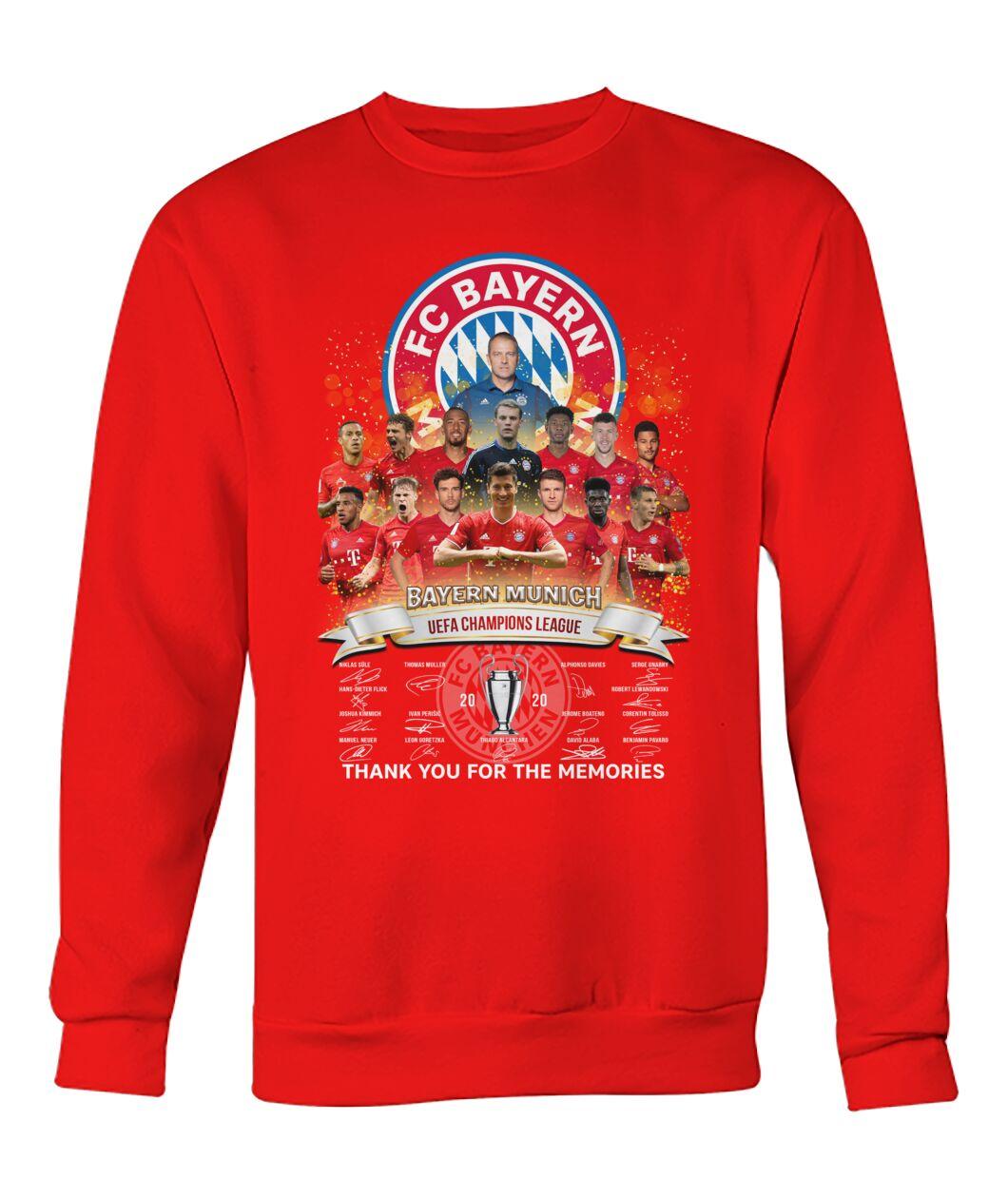 fc bayern munich 2020 uefa champions league thank you for the memories signatures sweatshirt