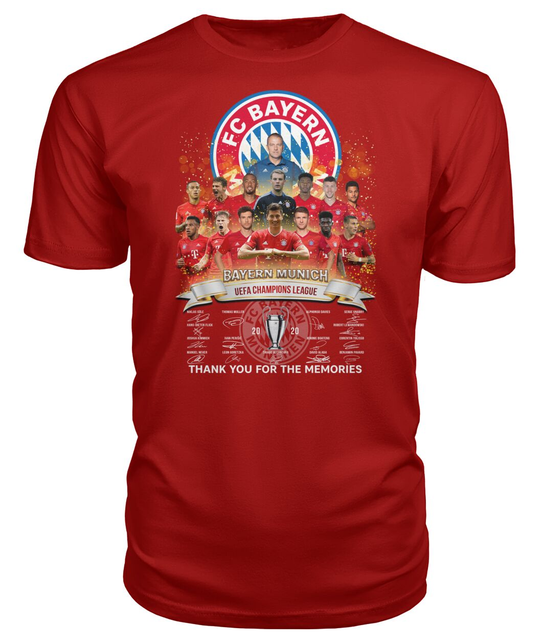 fc bayern munich 2020 uefa champions league thank you for the memories signatures tshirt