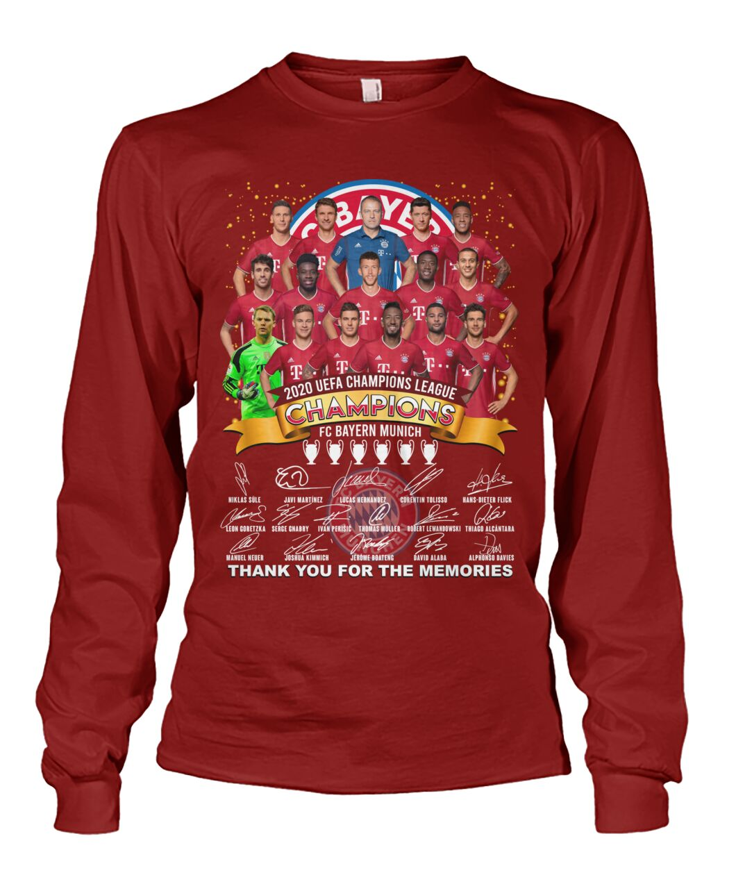 fc bayern munich 2020 uefa champions league thank you for the memories sweatshirt