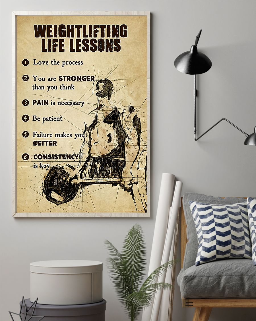 fitness weightlifting life lessons love the process poster 2