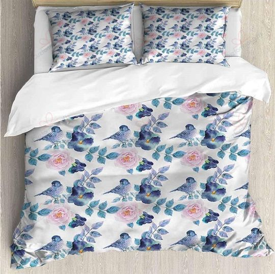 floral and lovely bird bedding set 1