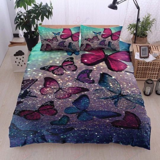 glitter butterfly bedding set 3