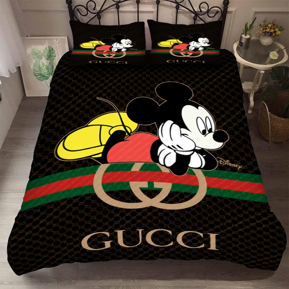gucci and mickey mouse bedding set 1