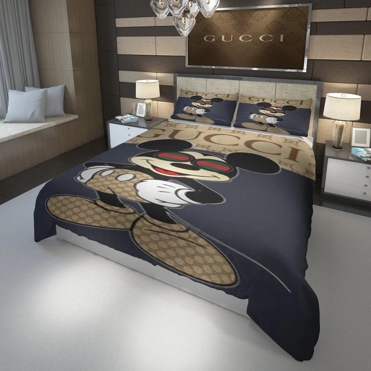 gucci mickey mouse with glasses bedding set 1