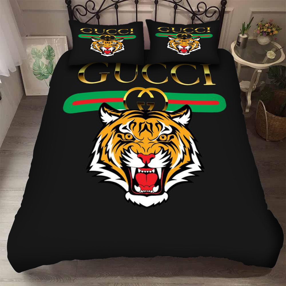 gucci with tiger logo bedding set 3