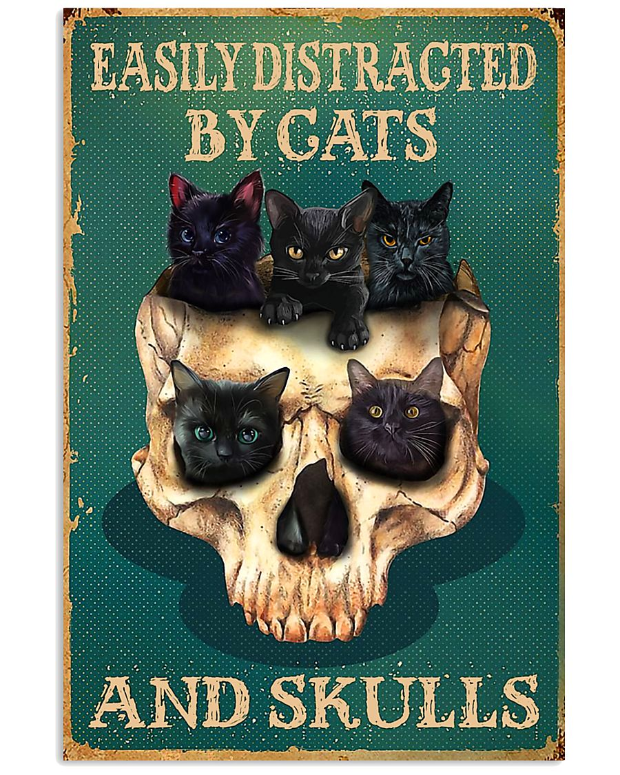 halloween easily distracted by cats and skulls retro poster 1