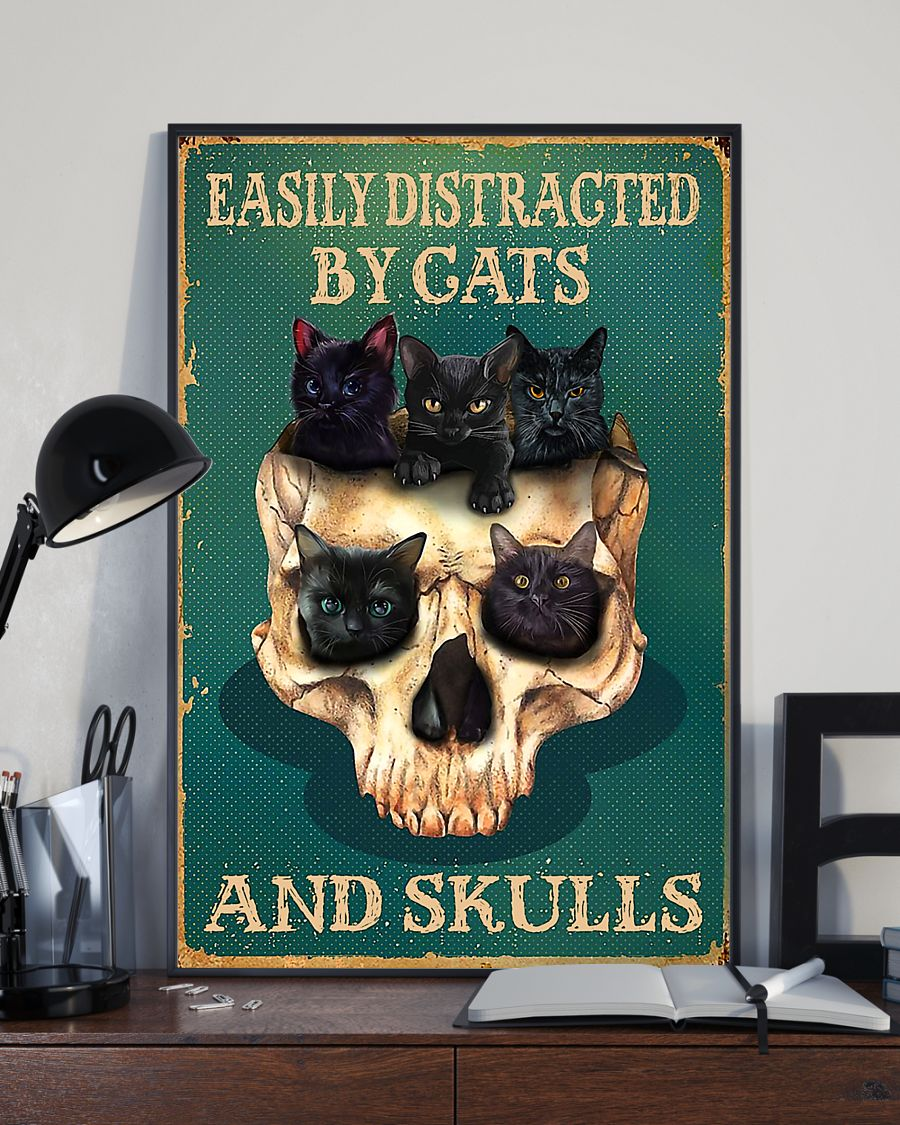 halloween easily distracted by cats and skulls retro poster 2