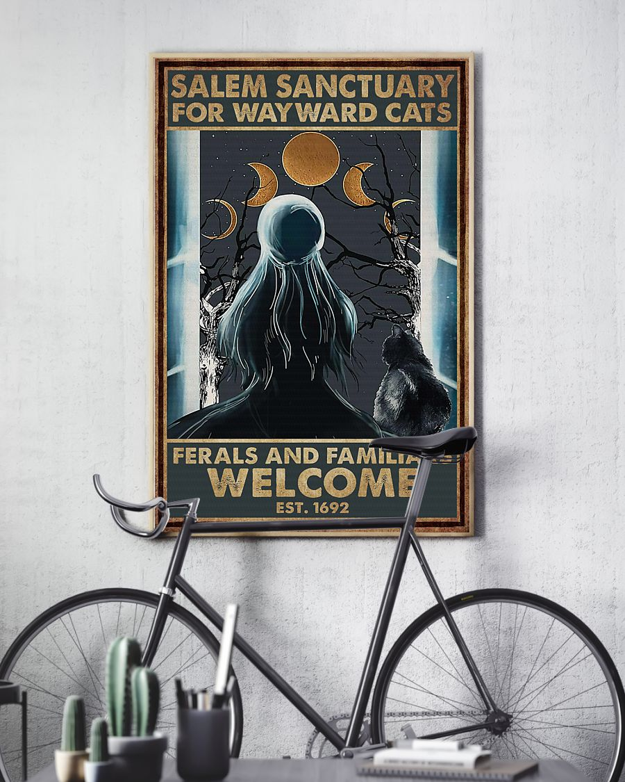 halloween girl and black cat salem sanctuary for wayward cats ferals and familiars welcome retro poster 3