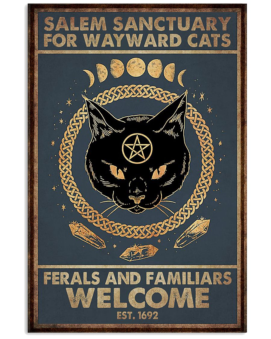halloween salem sanctuary for wayward cats ferals and familiars welcome black cat retro poster 1