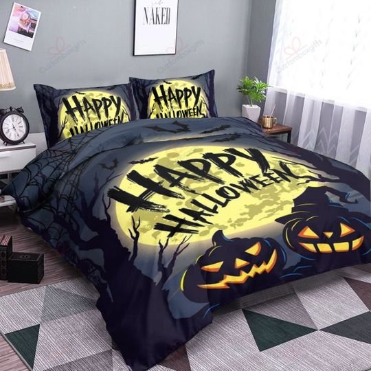 happy halloween pumpkin bedding set 3