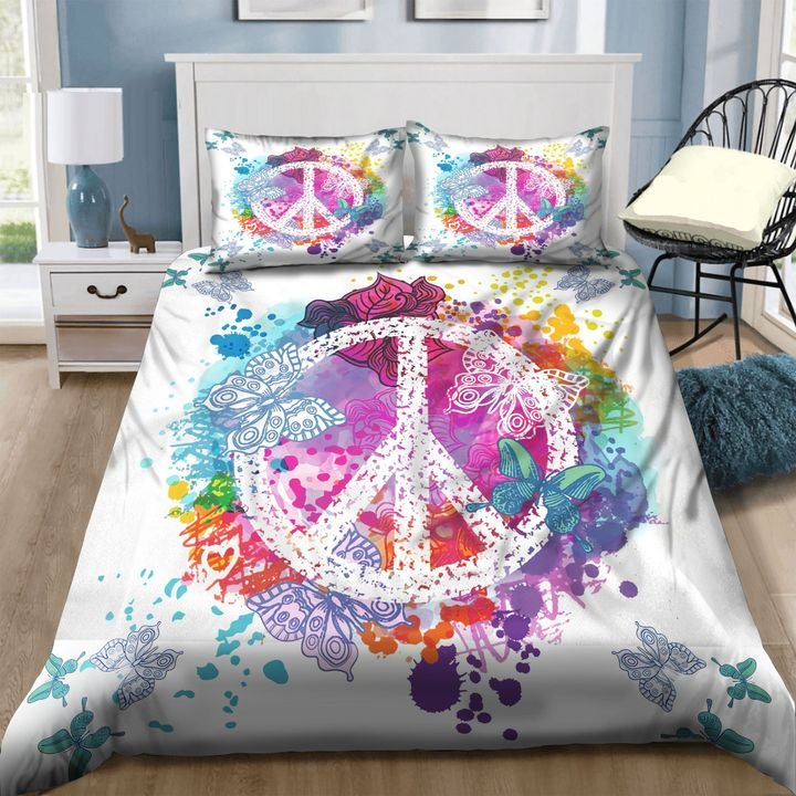 hippie peace symbols and butterfly watercolor bedding set 1