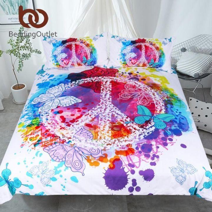 hippie peace symbols watercolor bedding set 2