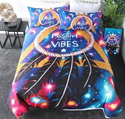hippie positive vibes bedding set 2