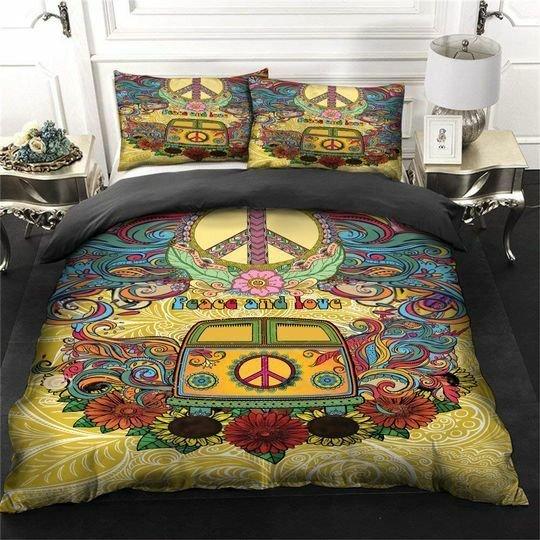 hippie volkswagen peace rv bedding set 2
