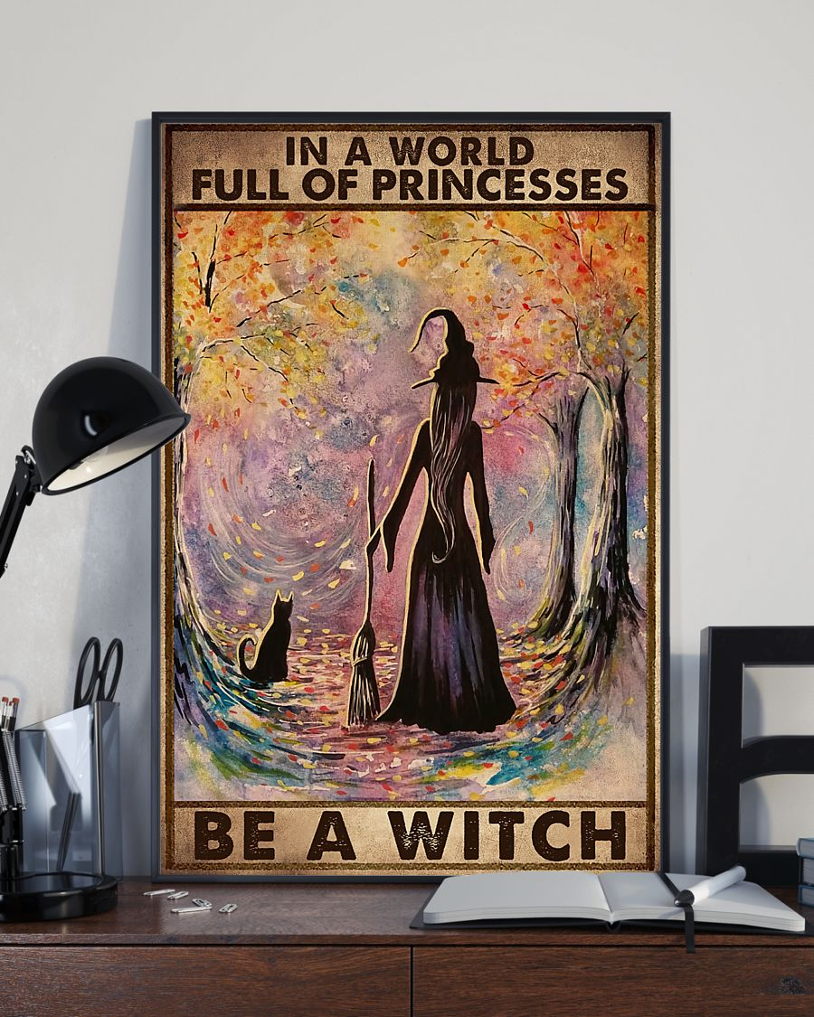 in a world full of princesses be a witch retro poster 3