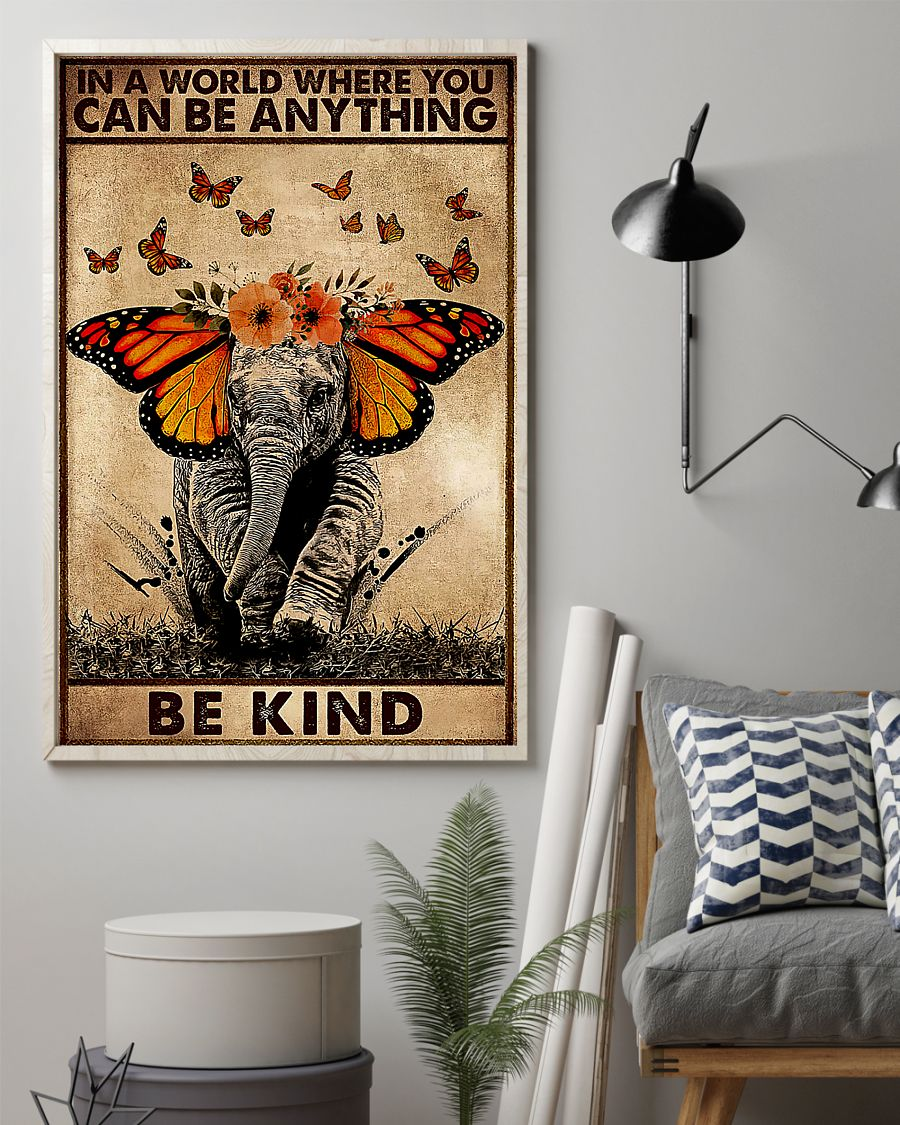 in a world where you can be anything be kind elephant retro poster 2