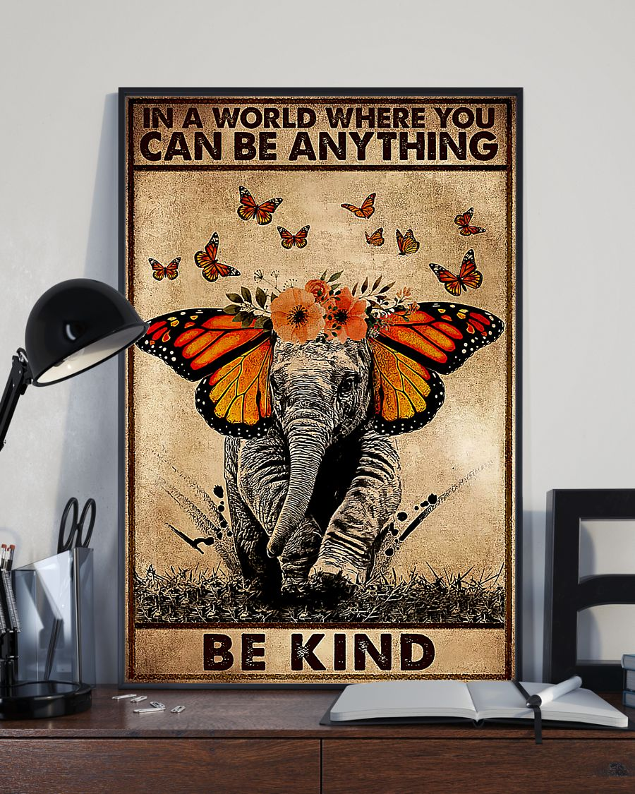 in a world where you can be anything be kind elephant retro poster 3