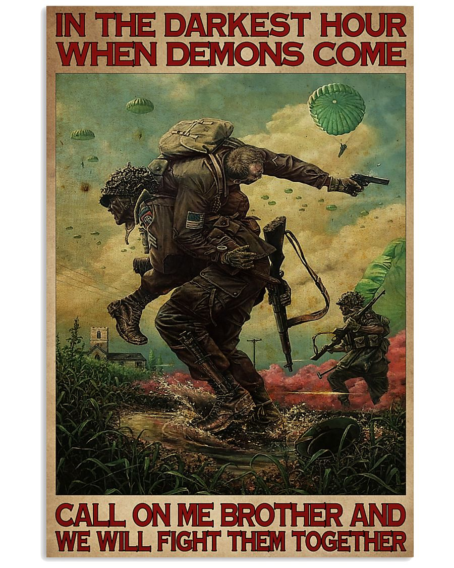 in the darkest hour when demons come call on me military retro poster 4