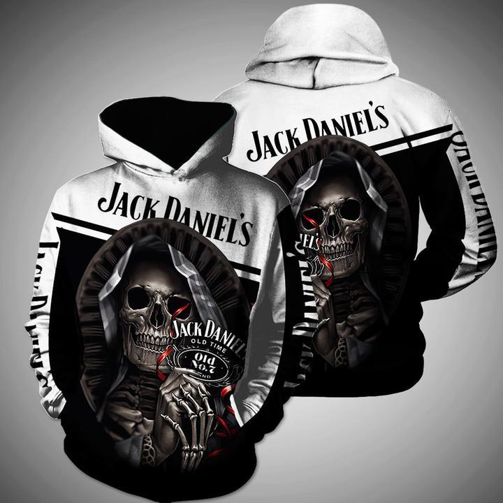 jack daniels old n07 brand whiskey skull full printing hoodie