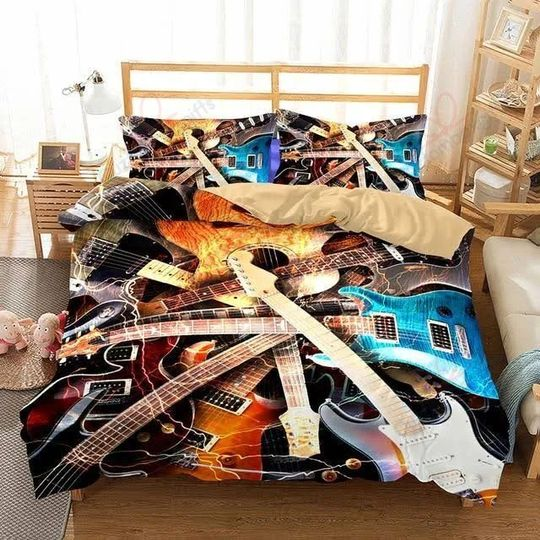 love electric guitar bedding set 1