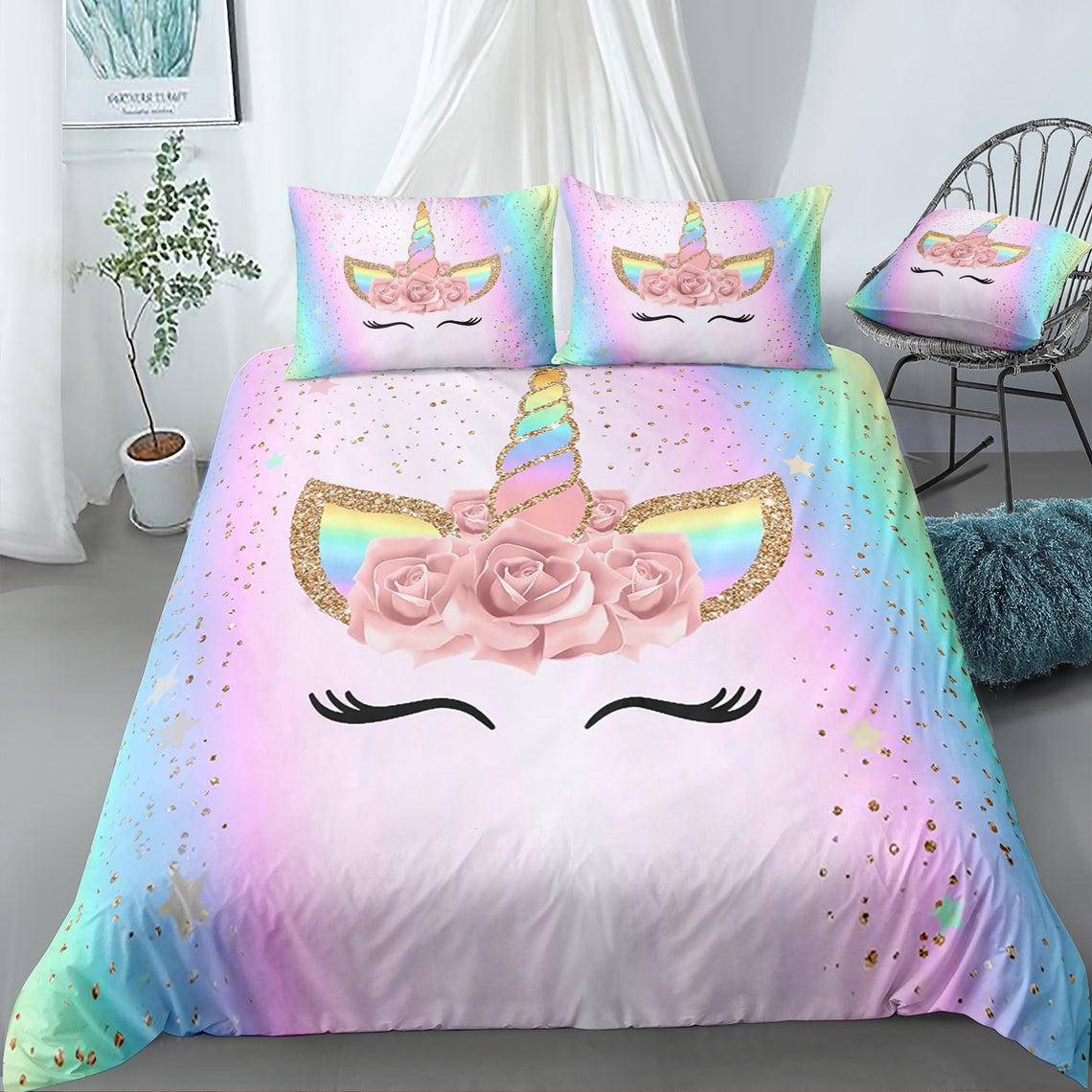 lovely unicorn floral bedding set 1