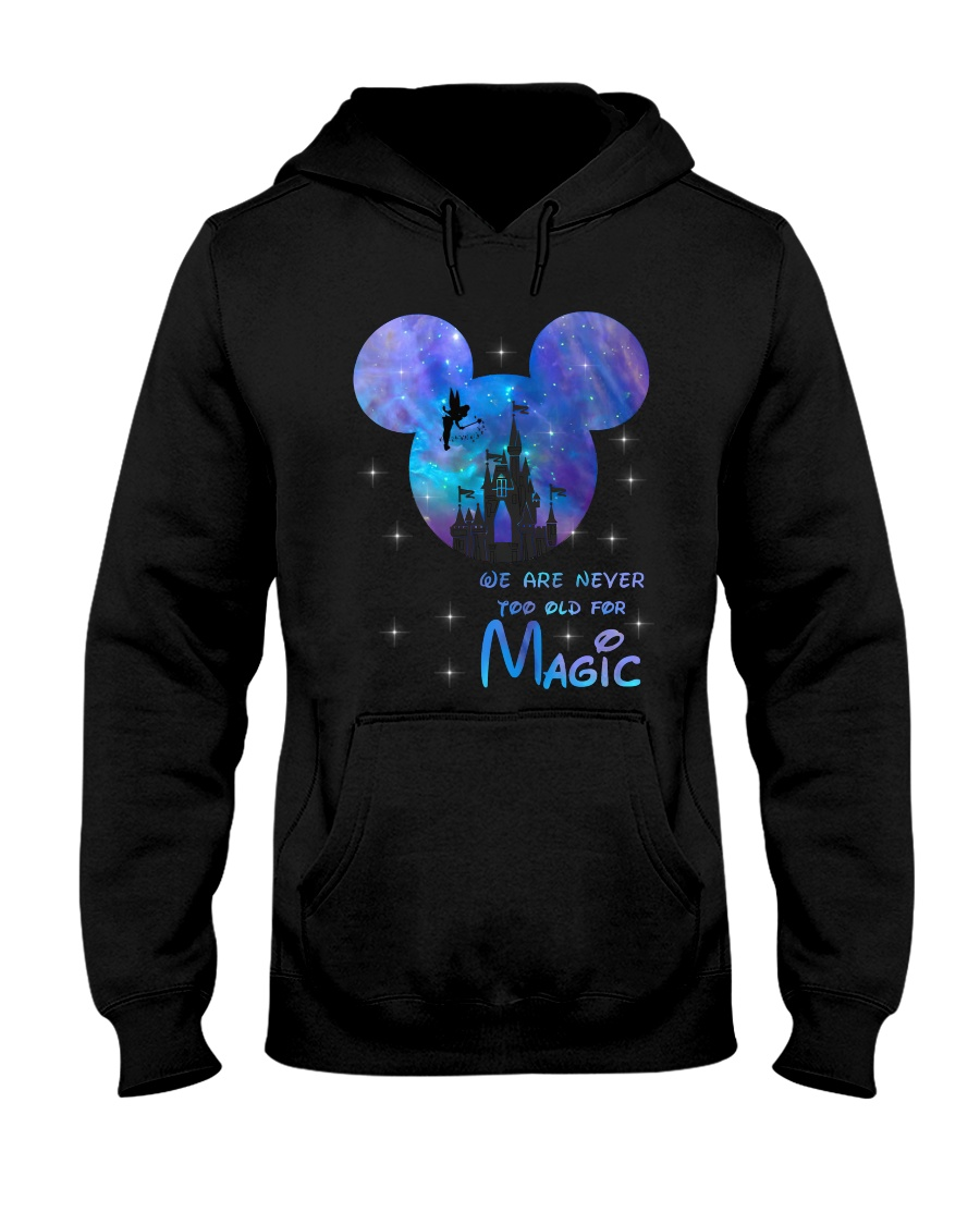 mickey mouse castle we are never too old for magic hoodie