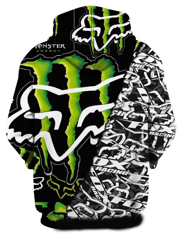 monster energy and fox racing symbol full printing hoodie