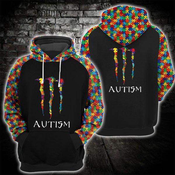 monster energy autism awareness full printing hoodie