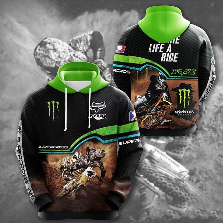 monster energy fox racing motorcross full printing hoodie